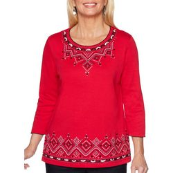 Alfred Dunner Petite Well Red Embroidered Detail Top