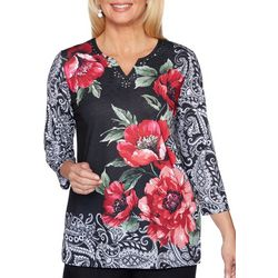 Alfred Dunner Womens Well Read Floral Paisley Top