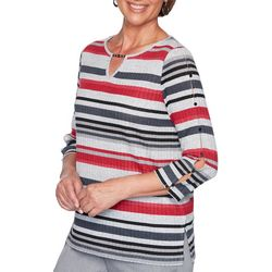 Alfred Dunner Petite Well Red Striped Keyhole Detail Top