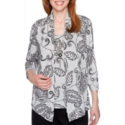 Alfred Dunner Petite Well Red Paisley Print Duet Top