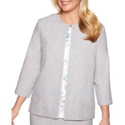 Alfred Dunner Petite Versailles Lace Trim Jacket