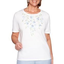 Alfred Dunner Petite Coastal Drive Floral Embroidered Top