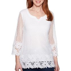 Alfred Dunner Petite Smooth Sailing Crochet Lace Top