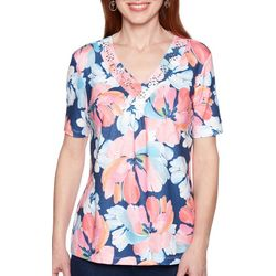 Alfred Dunner Petite Smooth Sailing Jeweled Floral Top
