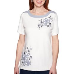 Alfred Dunner Petite Smooth Sailing Embroidered Floral Top