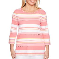 Alfred Dunner Petite Smooth Sailing Jeweled Striped Top