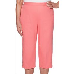 Alfred Dunner Petite Smooth Sailing Solid Button Hem Capris