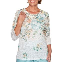 Alfred Dunner Petite Cottage Charm Floral Printed Top