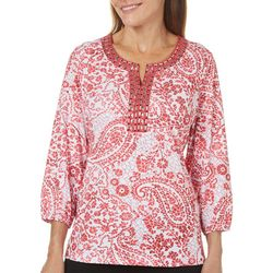 Cathy Daniels Womens Embellished Paisley Tile Top