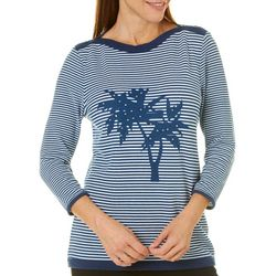 Cathy Daniels Womens Embellished Striped Palm Tree Top