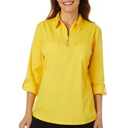 Cathy Daniels Womens Solid Zipper Placket Button Down