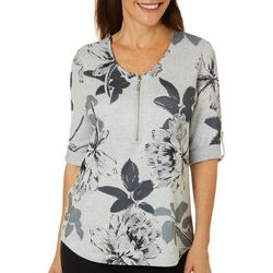 Cathy Daniels Womens Sketched Floral Round Neck Top