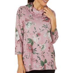 Cathy Daniels Womens Floral Embellished Cowl Neck Top
