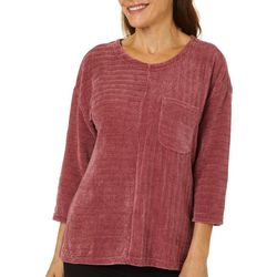 Cathy Daniels Womens Solid Ribbed Chenille Top