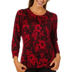 Cathy Daniels Womens Floral Jewel Embellished Sweater