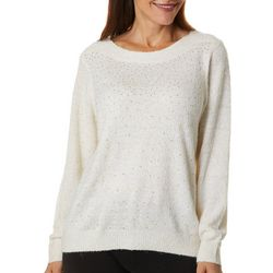 Cathy Daniels Womens Solid Embellished Boat Neck Sweater