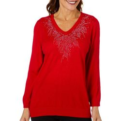 Cathy Daniels Womens Solid Embellished Neckline Top