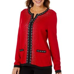Cathy Daniels Womens Jewel Embellished Long Sleeve Jacket