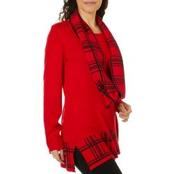 Cathy Daniels Womens Plaid Detail Tunic Top & Scarf Set