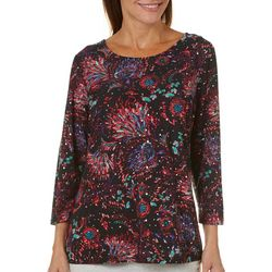 Cathy Daniels Womens Animal Print Glitter Top