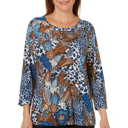 Cathy Daniels Womens Embellished Mixed Feather Print Top
