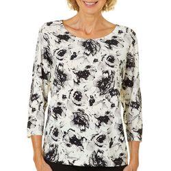 Cathy Daniels Womens Embellished Rose Print Top