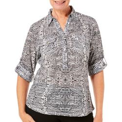 Cathy Daniels Womens Mixed Paisley Collared Top