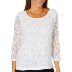 Cathy Daniels Womens Lace Scoop Neck Top
