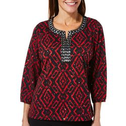 Cathy Daniels Womens Embellished Aztec Jeweled Neck Top