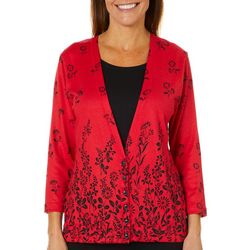 Cathy Daniels Womens Floral Lined Cardigan Top