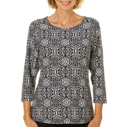 Cathy Daniels Womens Floral Medallion Top