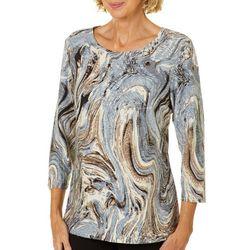 Cathy Daniels Womens Marbled Animal Print Top