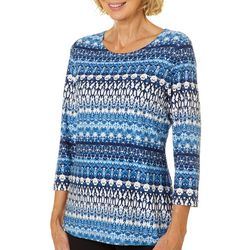 Cathy Daniels Womens Striped Damask Top
