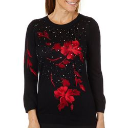 Cathy Daniels Womens Floral Embellished Pullover Sweater