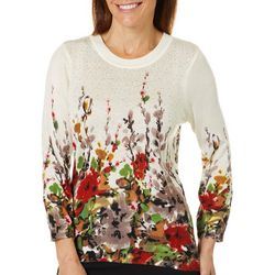 Cathy Daniels Womens Embellished Floral Pullover Sweater