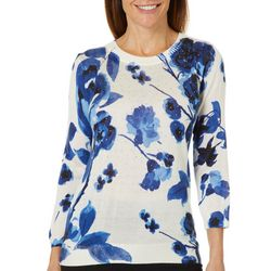 Cathy Daniels Womens Embellished Floral Print Sweater