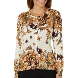 Cathy Daniels Womens Floral Harvest Embellished Cardigan