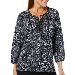 Cathy Daniels Womens Embellished Medallion Jeweled Neck Top