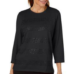 Cathy Daniels Womens Embellished Stripes Sweater