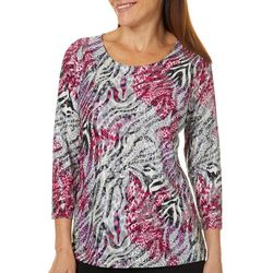 Cathy Daniels Womens Abstract Animal Glitter Top