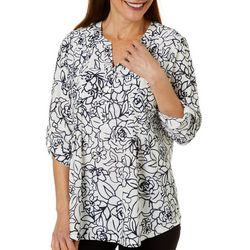 Cathy Daniels Womens Floral Pleated Roll Tab Sleeve Top