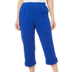 Cathy Daniels Womens Solid Roll Tab Cuff Pull On Capris