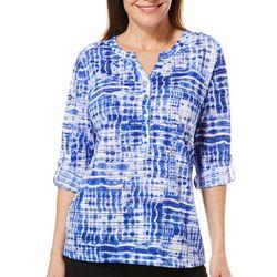 Cathy Daniels Womens Tie Dye Roll Tab Top