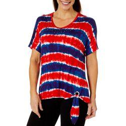 Cathy Daniels Womens Embellished Tie Dye Striped Top