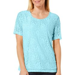 Cathy Daniels Womens Lined Enchanting Floral Lace Top