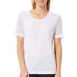 Cathy Daniels Womens Lined Speckled Lace Top