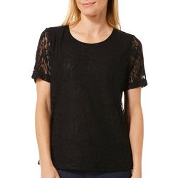 Cathy Daniels Womens Lined Scattered Floral Lace Top