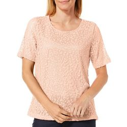 Cathy Daniels Womens Lined Scattered Leaf Lace Top