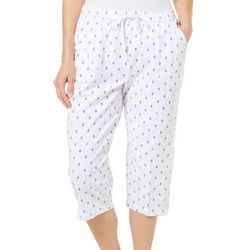 Cathy Daniels Womens Pull On Anchor Print Capris
