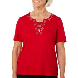 Cathy Daniels Womens Embellished Star Stripe Panel Top